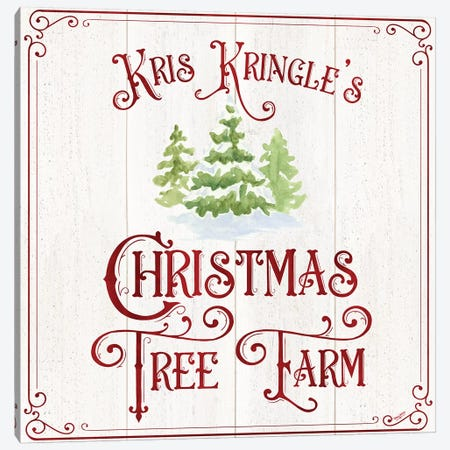 Vintage Christmas Signs VI-Tree Farm Canvas Print #TRE367} by Tara Reed Canvas Artwork