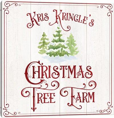 Vintage Christmas Signs VI-Tree Farm Canvas Art Print