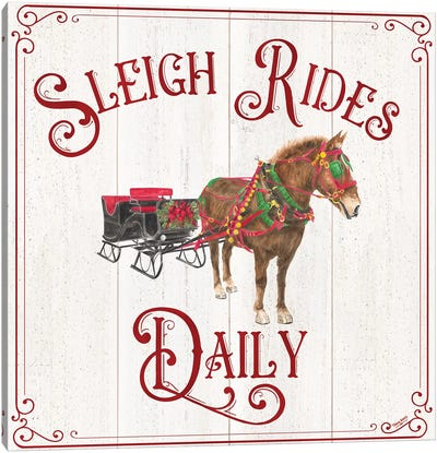 Vintage Christmas Signs V-Sleigh Rides Canvas Art Print