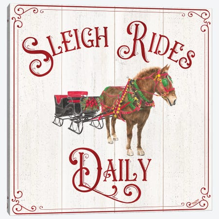 Vintage Christmas Signs V-Sleigh Rides Canvas Print #TRE368} by Tara Reed Canvas Art Print