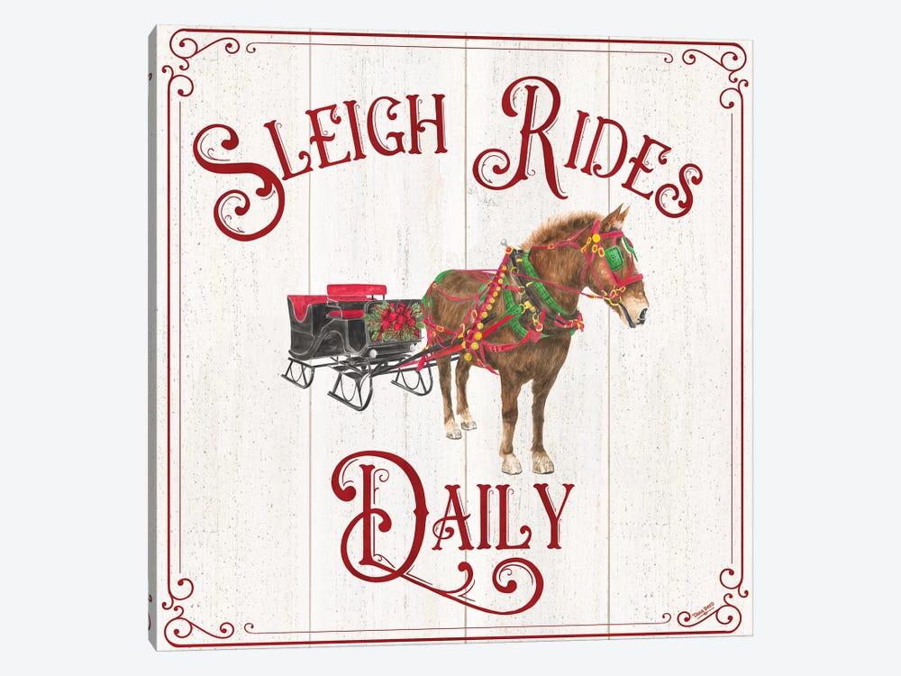Vintage Christmas Signs V-Sleigh Rides by Tara Reed 1-piece Canvas Artwork