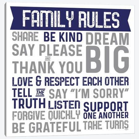 Family Rules II Blue Gray Canvas Print #TRE379} by Tara Reed Canvas Wall Art