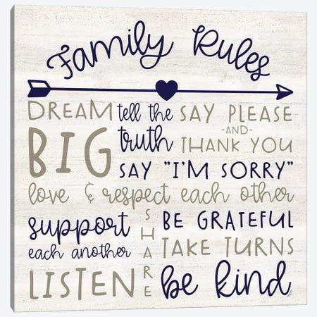Family Rules III Farmhouse Canvas Print #TRE380} by Tara Reed Art Print
