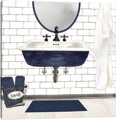 Farmhouse Bath II Navy-Sink Canvas Art Print