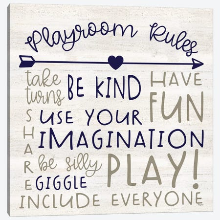 Playroom Rules III Canvas Print #TRE384} by Tara Reed Canvas Wall Art