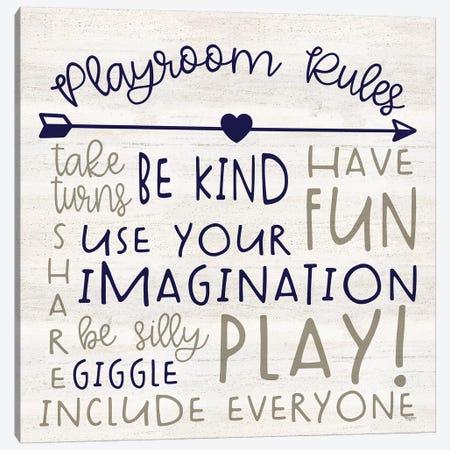 Playroom Rules III Canvas Print #TRE384} by Tara Reed Canvas Wall Art