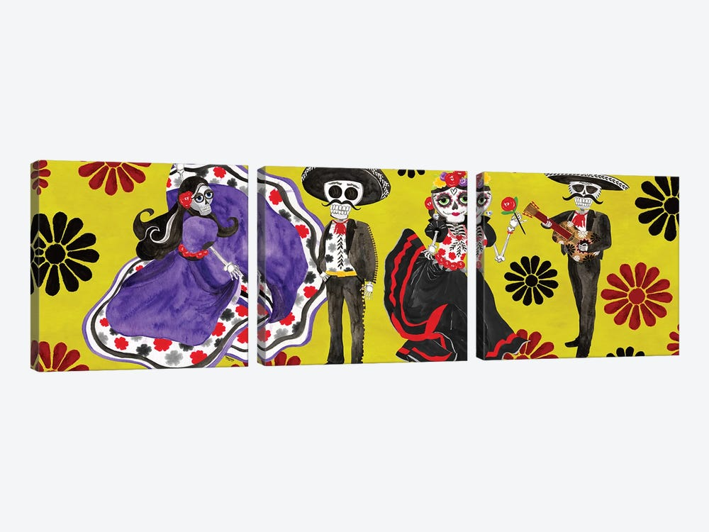 Day of the Dead panel II-Sugar Skull Couple by Tara Reed 3-piece Canvas Print