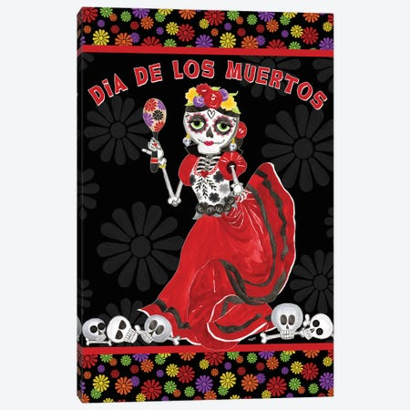 Day of the Dead portrait I-Dancing Woman on black Canvas Print #TRE395} by Tara Reed Canvas Art Print