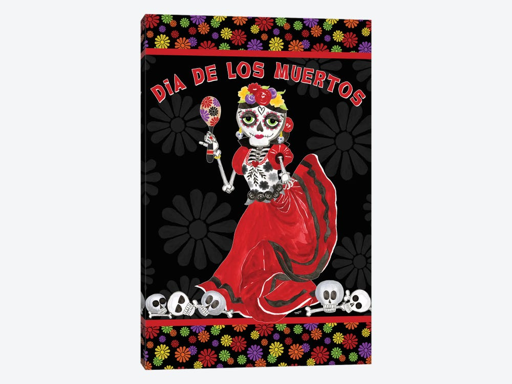 Day of the Dead portrait I-Dancing Woman on black by Tara Reed 1-piece Canvas Artwork