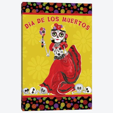 Day of the Dead portrait II-Dancing Woman on gold Canvas Print #TRE396} by Tara Reed Art Print