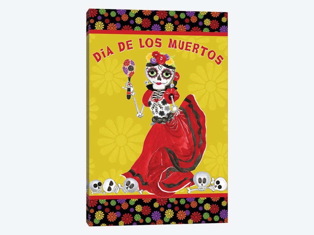 Day of the Dead portrait II-Dancing Woman on gold by Tara Reed 1-piece Canvas Art Print