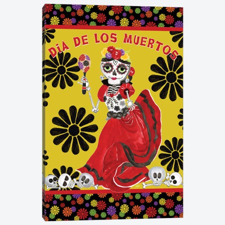 Day of the Dead portrait III-Dancing Woman gold & black Canvas Print #TRE397} by Tara Reed Art Print