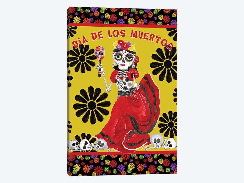 Day of the Dead portrait III-Dancing Woman gold & black by Tara Reed 1-piece Canvas Wall Art