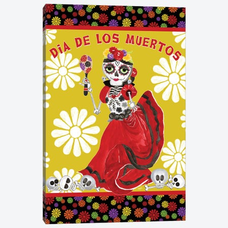 Day of the Dead portrait IV-Dancing Woman gold & white Canvas Print #TRE398} by Tara Reed Canvas Artwork