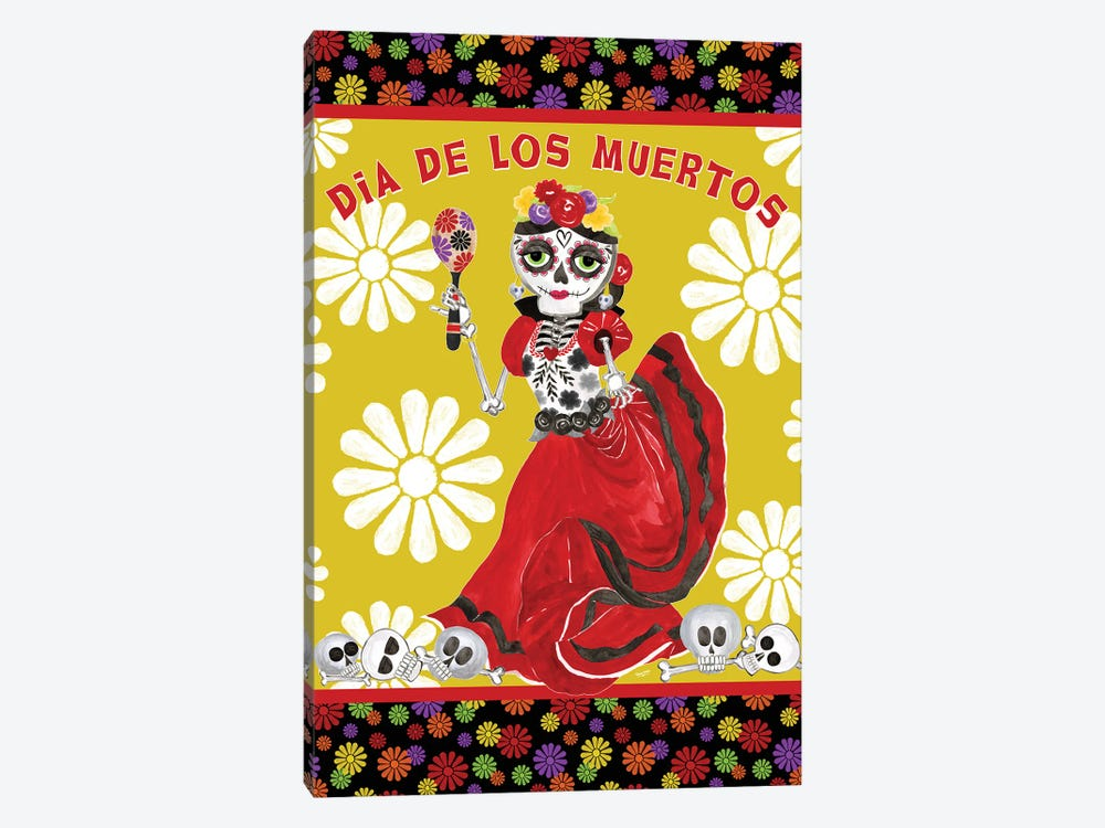 Day of the Dead portrait IV-Dancing Woman gold & white by Tara Reed 1-piece Canvas Art Print