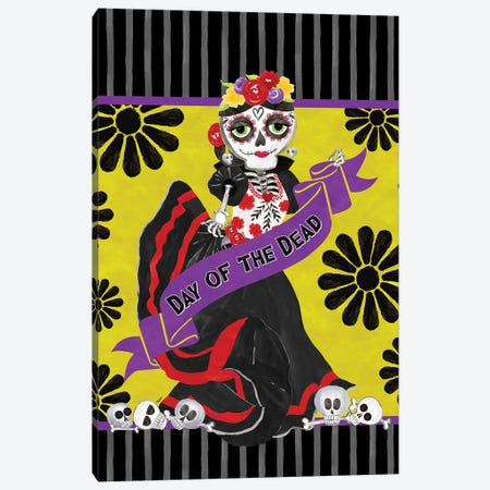 Day of the Dead portrait IX-Woman with banner Canvas Print #TRE399} by Tara Reed Canvas Art