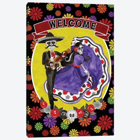 Day of the Dead portrait VIII-Sugar Skull Couple welcome flowers Canvas Print #TRE400} by Tara Reed Canvas Wall Art
