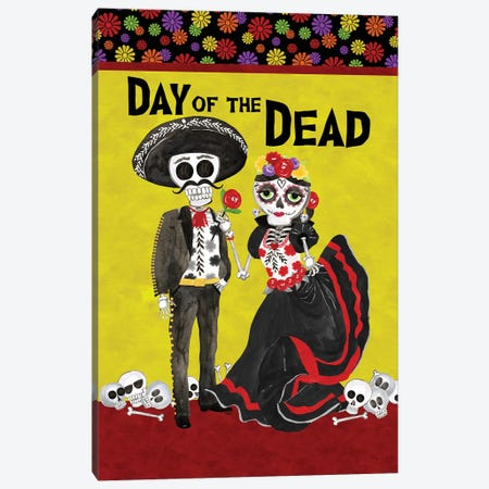 Day of the Dead portrait V-Sugar Skull Couple Canvas Print #TRE403} by Tara Reed Canvas Artwork