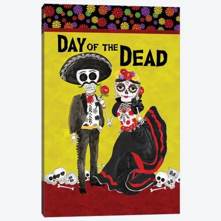 Day of the Dead portrait V-Sugar Skull Couple Canvas Print #TRE403} by Tara Reed Canvas Artwork