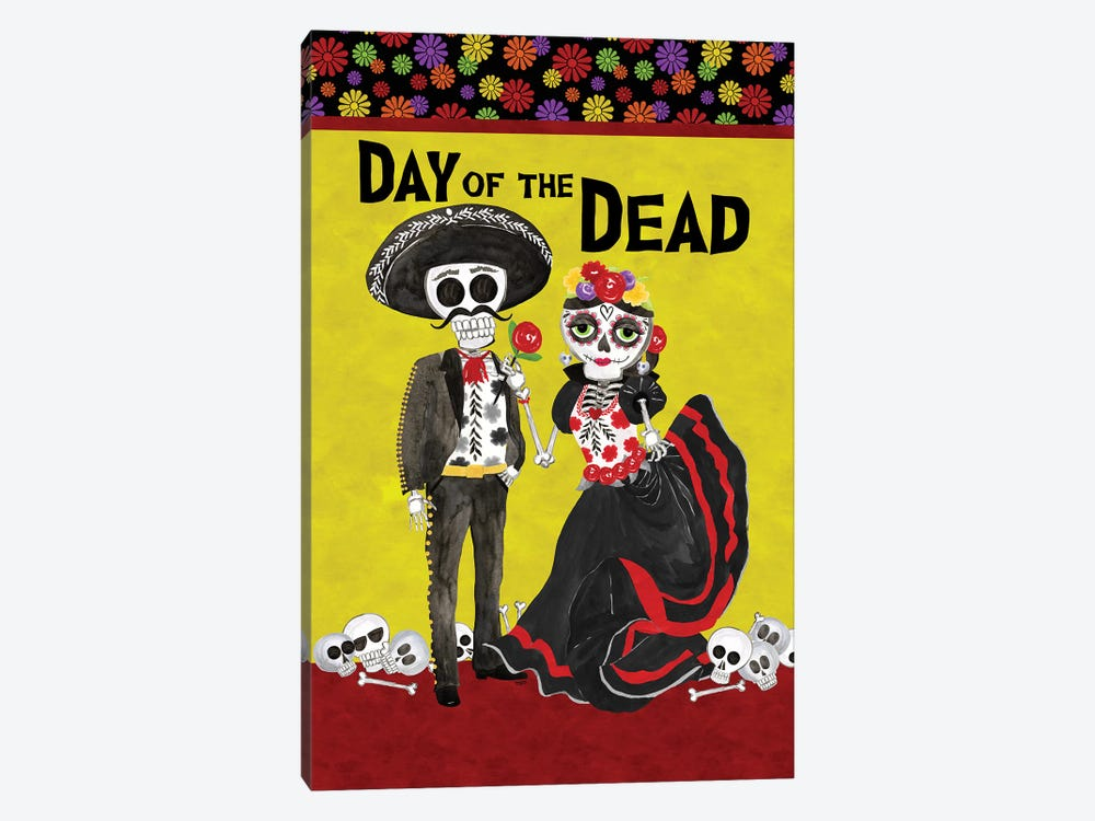 Day of the Dead portrait V-Sugar Skull Couple by Tara Reed 1-piece Canvas Wall Art