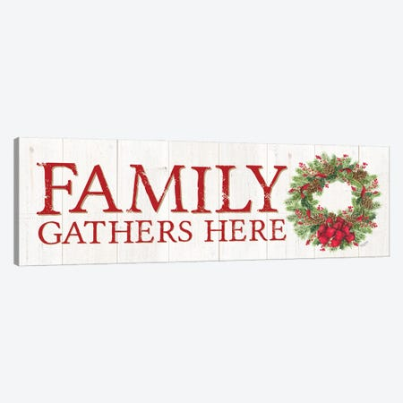 Family Gathers Here Wreath Sign Canvas Print #TRE406} by Tara Reed Canvas Print