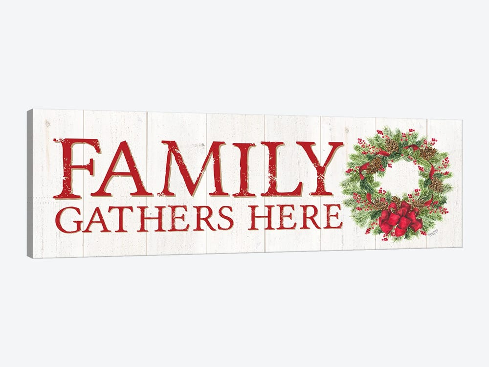 Family Gathers Here Wreath Sign by Tara Reed 1-piece Canvas Print