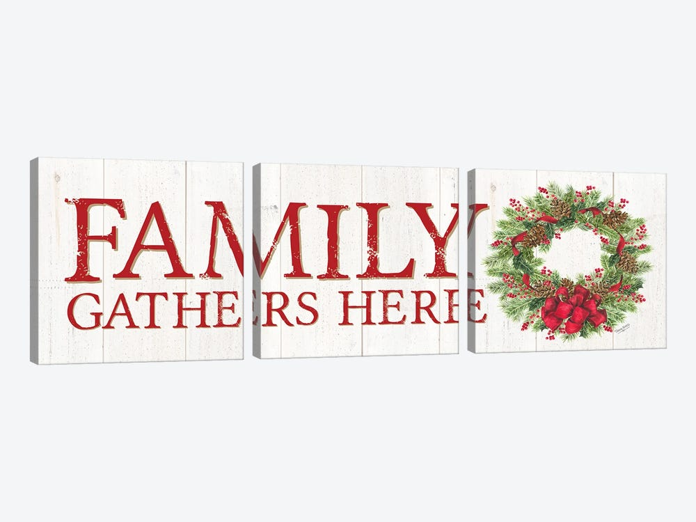 Family Gathers Here Wreath Sign by Tara Reed 3-piece Canvas Art Print