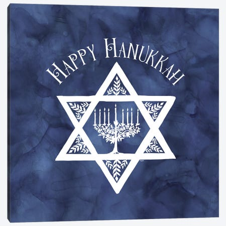 Festival of Lights blue III-Happy Hanukkah Canvas Print #TRE409} by Tara Reed Canvas Art