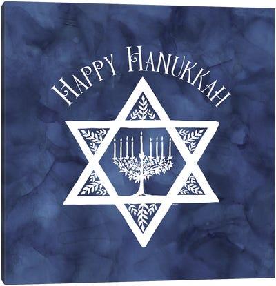 Festival of Lights blue III-Happy Hanukkah Canvas Art Print