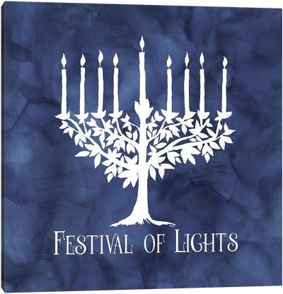 Festival of Lights blue IV-Menorah Canvas Art Print