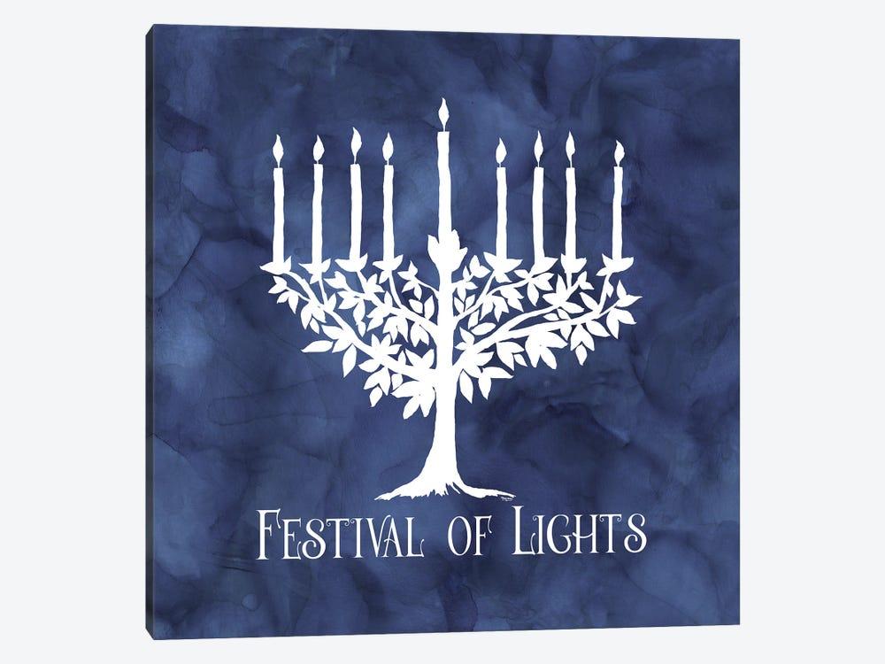 Festival of Lights blue IV-Menorah by Tara Reed 1-piece Canvas Artwork