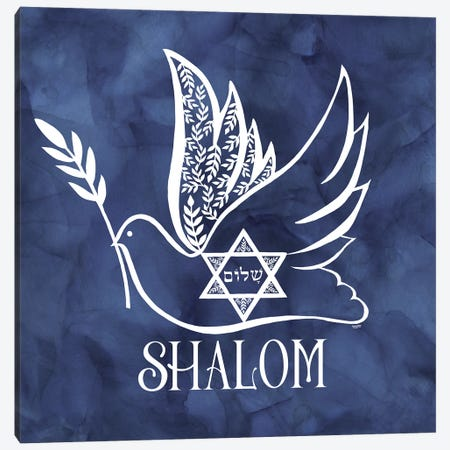 Festival of Lights blue V-Shalom Dove Canvas Print #TRE412} by Tara Reed Canvas Print