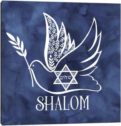 Festival of Lights blue V-Shalom Dove Canvas Art Print