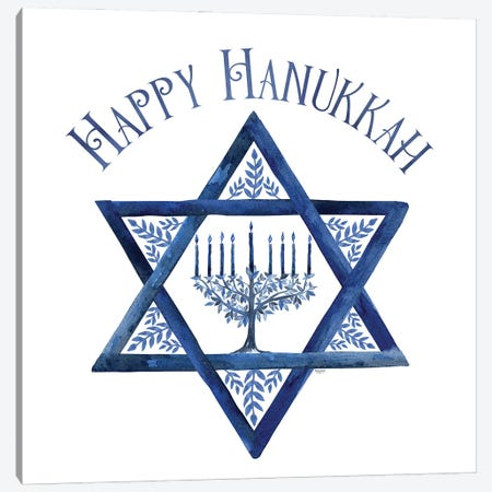 Festival of Lights III-Happy Hanukkah Canvas Print #TRE415} by Tara Reed Canvas Art