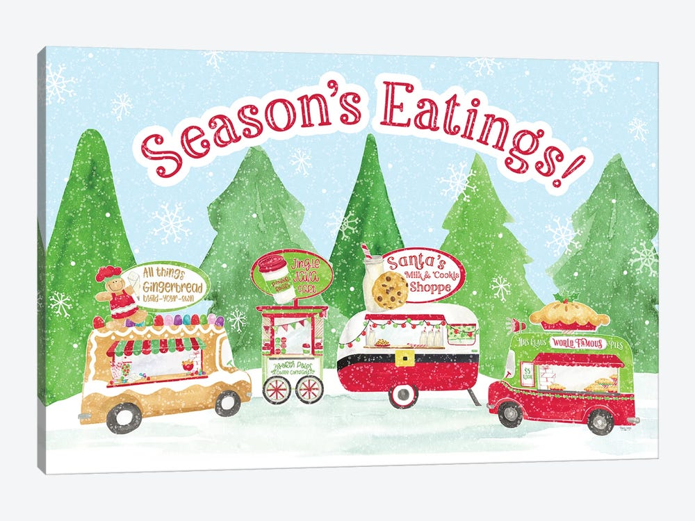 Food Cart Christmas - Seasons Eatings by Tara Reed 1-piece Canvas Artwork