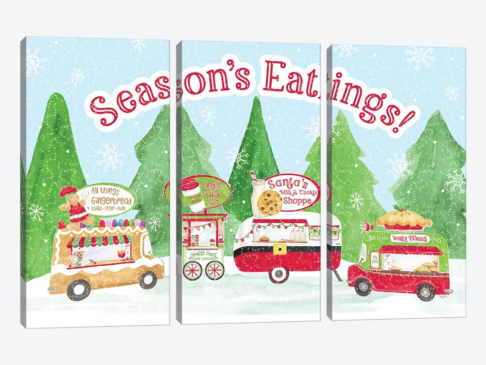 Food Cart Christmas - Seasons Eatings by Tara Reed 3-piece Canvas Wall Art