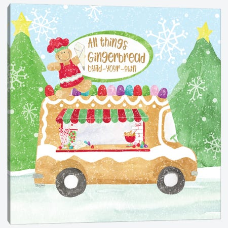 Food Cart Christmas I Gingerbread Canvas Print #TRE422} by Tara Reed Canvas Art
