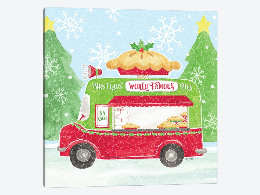 Food Cart Christmas III Mrs Clause Pies by Tara Reed 1-piece Canvas Print