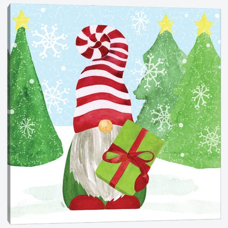 Gnome for Christmas blue I-Gifts Canvas Print #TRE425} by Tara Reed Canvas Art Print