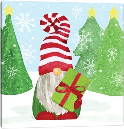 Gnome for Christmas blue I-Gifts Canvas Art Print