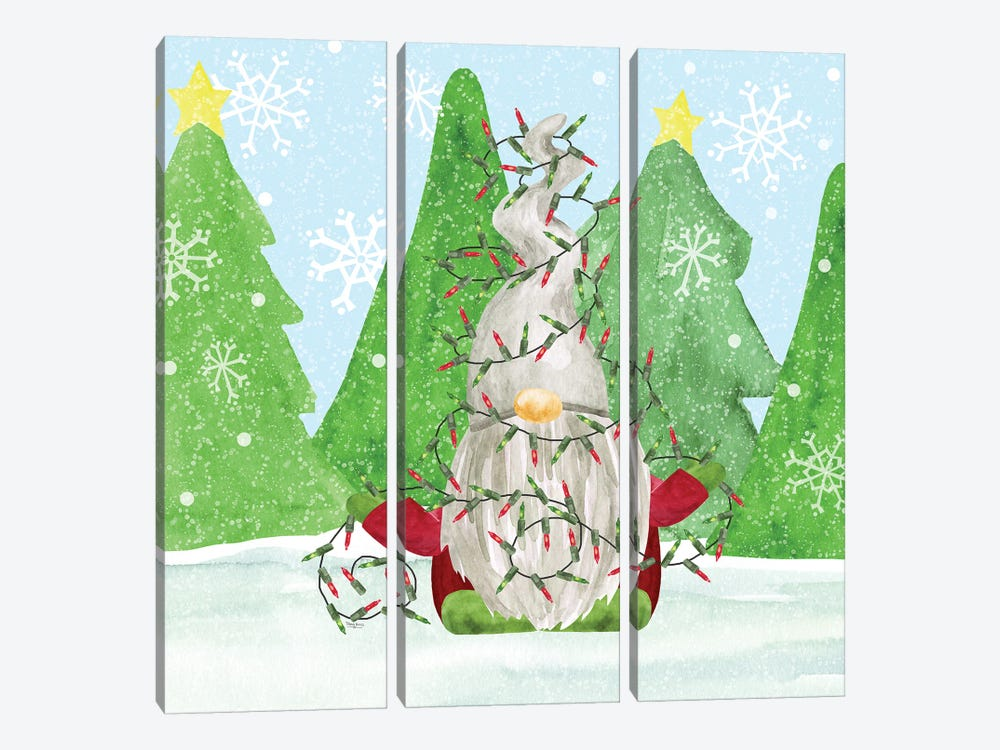 Gnome for Christmas blue III-Gnome Lights by Tara Reed 3-piece Canvas Artwork