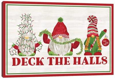 Gnome for Christmas Sentiment landscape-Deck the Halls Canvas Art Print