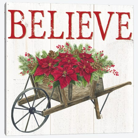 Home for the Holidays Believe Canvas Print #TRE433} by Tara Reed Canvas Art Print