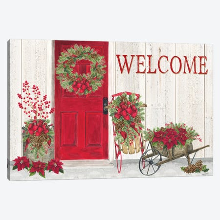 Home for the Holidays Front Door Scene  Canvas Print #TRE435} by Tara Reed Canvas Wall Art