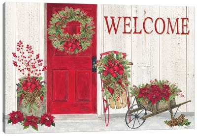 Home for the Holidays Front Door Scene  Canvas Art Print