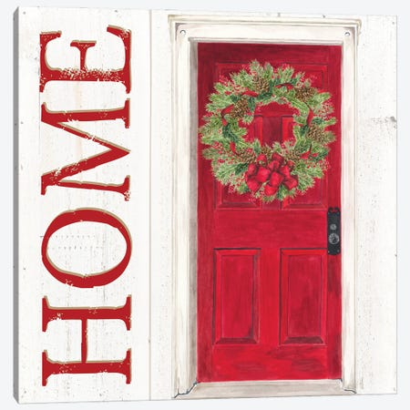 Home for the Holidays Home Door Canvas Print #TRE436} by Tara Reed Canvas Art