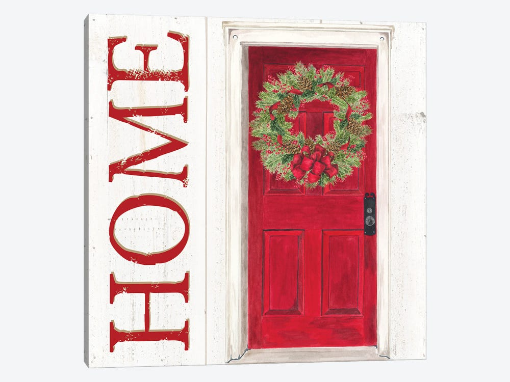 Home for the Holidays Home Door by Tara Reed 1-piece Canvas Artwork