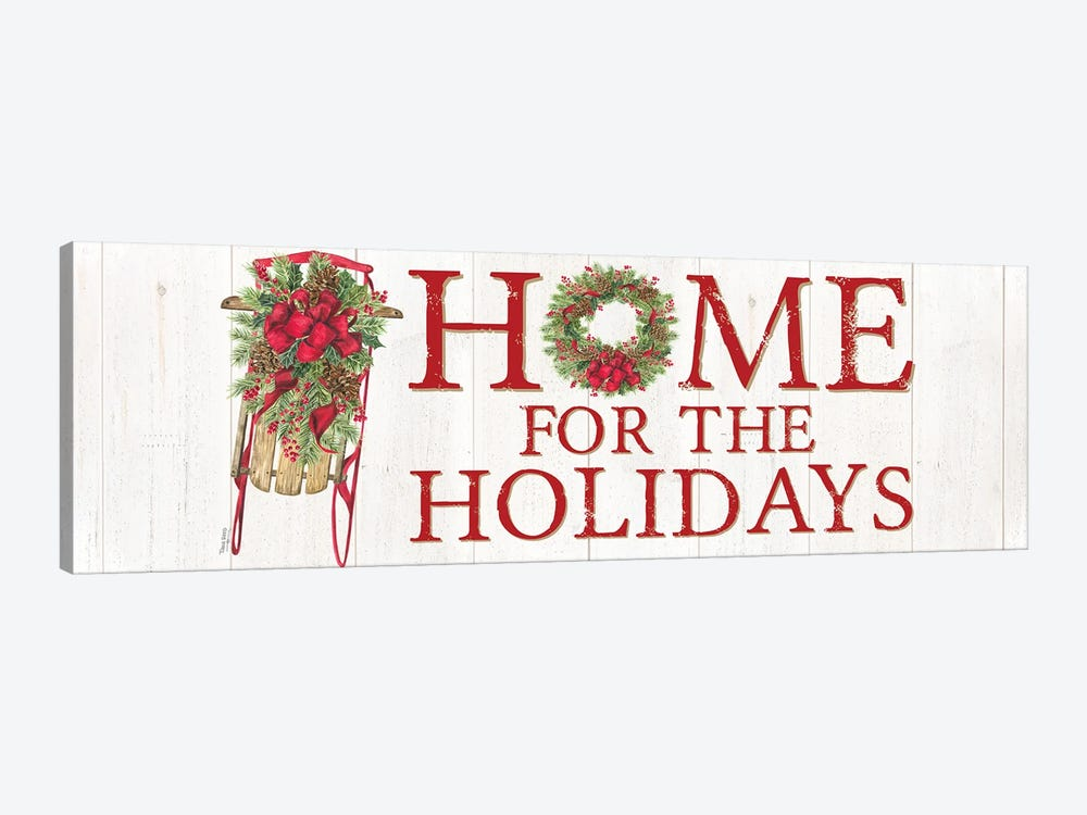 Home for the Holidays Sled Sign by Tara Reed 1-piece Canvas Print
