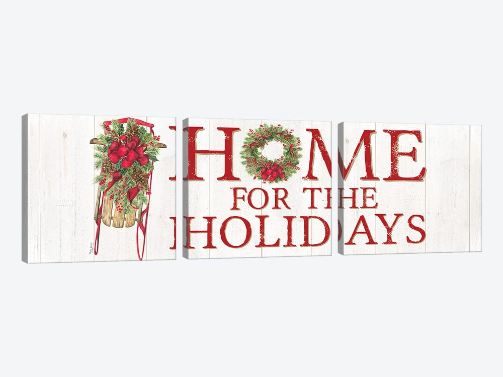 Home for the Holidays Sled Sign by Tara Reed 3-piece Canvas Print