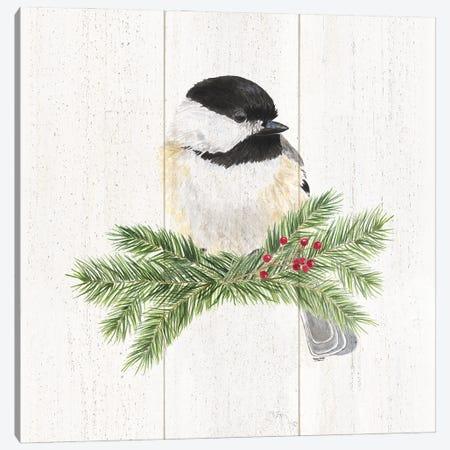 Peaceful Christmas Chickadee I Canvas Print #TRE440} by Tara Reed Canvas Wall Art